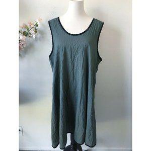 Cynthia Ashby Green Sleeveless Dress Lagenlook Sz